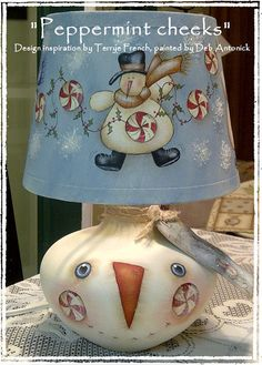 Peppermint Cheeks Lamp  by Deb Antonick by PaintingWithFriends