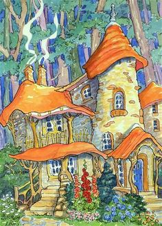 """Daily Paintworks - """"Whimsy at the Forest Edge Storybook Cottage Series"""" - Original Fine Art for Sale - © Alida Akers"""