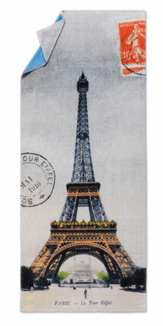 Eiffel Tower, Paris. Digitally printed velour beach towel