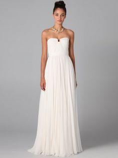(NO.0243415 )2012 Style A-line Strapless Ruffles  Sleeveless Floor-length Chiffon White Prom Dress / Evening Dress