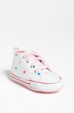 Converse Chuck Taylor® 'First Star - Hearts' Crib Sneaker (Baby) available at #Nordstrom