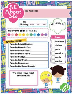 Daisy Girl Scout Activity All About Me Printable by BellaNoche1