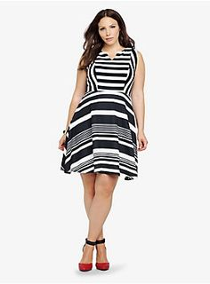 Line up in a fit-and-flare knit dress with high-impact black and white stripes and a notched neck. It's versatile and flattering style that goes from one season to the next. #Torrid #SouthBayGalleria #CelebratingCurves