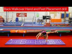 Back Walkover Hand and Feet Placement Drill A back walkover starts and finishes with a good lever. Use the numbers and squares on the Hopscotch Mat as a guid. Gymnastics Lessons, Gymnastics Floor, Gymnastics Coaching, Gymnastics Training, Back Walkover, Gymnastics Conditioning, Back Flexibility, All Star Cheer, Love My Kids