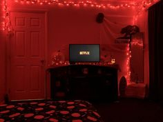 Red neon room Autumn room aesthetic 2018 The post Red neon room & a u t u m n appeared first on Halloween decorations . Red Room Decor, Room Decor Bedroom, 1920s Bedroom, Bedroom Furniture, Clowns, Halloween Room Decor, Halloween Decorations, Outdoor Halloween, Christmas Decorations