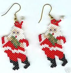 Hand Beaded Jolly Santa earrings by beadfairy1 on Etsy