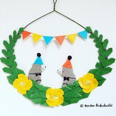 コンニチハ お花畑のくまさんサーカス Hello. Bear circus in flower garden. #origami #papercraft #wreath #garland #bear #circus #paperflower #walldecor #おりがみ #ペーパークラフト #ペーパーフラワー #リース #ガーランド #くまさん #サーカス #お花畑 #壁飾り #たかはしなな