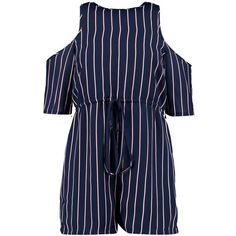 Boohoo Ava Open Shoulder Woven Stripe Playsuit ($28) ❤ liked on Polyvore featuring jumpsuits, rompers, stripe romper, long-sleeve romper, striped romper, striped rompers and long-sleeve rompers