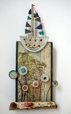 Shirley Vauvelle, Mixed Media Artist / Moors to coast (Earthenware, driftwood…