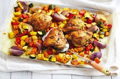 Served with roast vegies and mint couscous, this Moroccan chicken dish ...