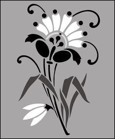 Flower stencils from The Stencil Library. Stencil catalogue quick view page 6.