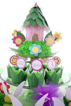 Casita de hadas: adorno y stand para cupcakes. Tutorial.