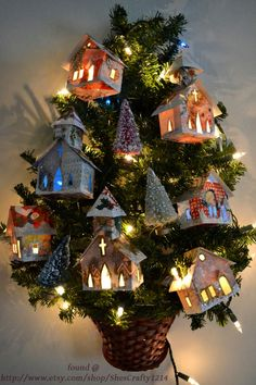 Sweet Little Putz Glitter Houses & Church Village / House Ornaments that Light Up Handmade from Vintage Christmas Cards Unique Decoration Christmas Card Crafts, Old Christmas, Primitive Christmas, Vintage Christmas Cards, Christmas Projects, Christmas Lights, Holiday Crafts, Christmas Holidays, Christmas Ornaments
