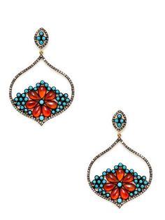 Amber & Turquoise Pointed Teardrop Earrings by Aishwarya