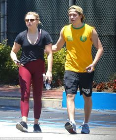 The couple that trains together, stays together: Chloe Grace Moretz enlisted the help of her boyfriend Brooklyn Beckham to help stay on top of her exercise regime as they worked out together in LA on Sunday