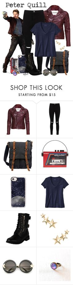 """""""Peter Quill aka Star-Lord - Marvel's Guardians of the Galaxy"""" by rubytyra ❤ liked on Polyvore featuring VIPARO, Boohoo, TSD, Sarah's Bag, Casetify, Patagonia, Kenneth Jay Lane and ZeroUV"""