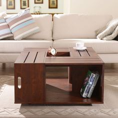 The Crate Square Vintage Walnut Finish Coffee Table