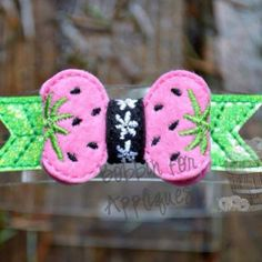 Strawberry Felt Bow Embellishment ITH In the Hoop Embroidery Design