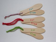 Wood ice cream spoon gift tags.