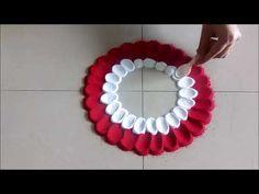Super Easy Flower Design Rangoli Using Spoon# Creative Rangoli by Shital Mahajan - YouTube