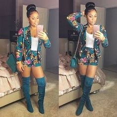 Celebrity Summer Women Blazer Set Floral Suit With Print High Waist Shorts Ht