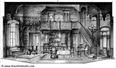 Arsenic and Old Lace set design sketch by Thomas Umfrid