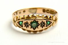 Antique Edwardian Gold Ring with Gypsy Set Emeralds, Green Garnets and Diamonds - brought to you by VintageCravens