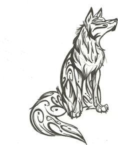 Tribal Wolf Drawing.