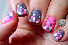 Gray, pink, and white polka dots