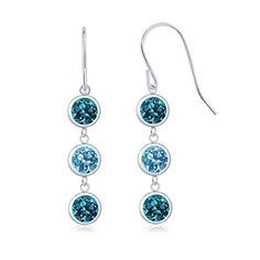 Promise Rings Simple | 300 Ct Round London Blue Topaz Swiss Blue Topaz 925 Sterling Silver Three Stone Dangle Earrings *** Learn more by visiting the image link. Note:It is Affiliate Link to Amazon.