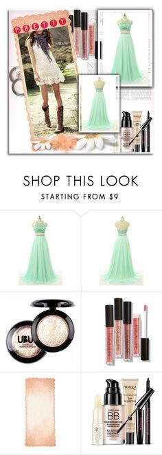"""Green Backless Scoop Neck Chiffon Sweep Train Beading Two Pieces Long Prom Dress"" by harrydress on Polyvore featuring Faliero Sarti"