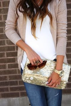 Fall fashion with grey cardigan, jeans, sequin clutch and shades