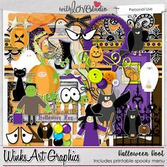 """Halloween Hoot digital scrapbooking kit from Winks Art Graphics. This kit is filled with cute costumed kids, transparent ghosts and trick-or-treat fun!  Includes a lovely Witche Cauldron menu, listing lots of disgusting """"appetizers, main dishes & beverages"""" to gross-out your trick-or-treaters! Document all the fun events on your scrapbooking layouts."""