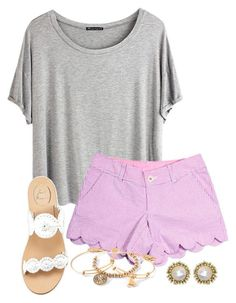 #Summer #Outfits / Grey T-Shirt + Pink Striped Shorts