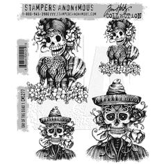 Stampers Anonymous Tim Holtz Rubber Stamps - Day of the Dead #1 CMS277