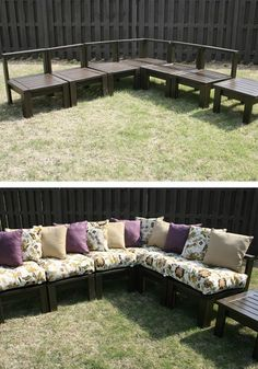Get ready for summertime and outdoor entertaining with this DIY Outdoor Sectional step-by-step tutorial!