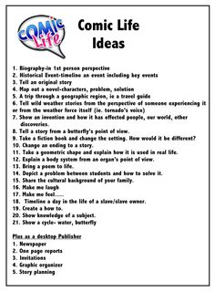 Comic Life ideas for use in Education by Marilee Sarlitto.