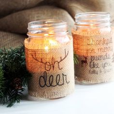 Create these stunning burlap mason jar candle holders in minutes! Full tutorial with free printable.
