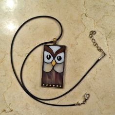 Owl pendant stained glass mosaic jewelry by ShellyHeissDesigns, $30.00