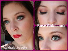 Rose Gold eye look with false lashes and a red lip