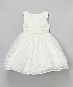 Look what I found on #zulily! Ivory Floral Lace Dress - Infant, Toddler & Girls by Bijan Kids #zulilyfinds