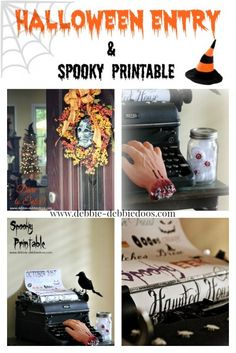 the hand with the typewriter I have to do!! Enter if you Dare Halloween house decor. #debbiedoos