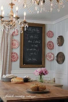 ♥ing this pretty frame made chalk board, plates & sterling platters on the way, pretty. @ http://frenchcountrycottage.blogspot.com/2012/04/french-cottage-kitchen.html