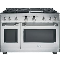 """If love were an appliance - 48"""" All Gas Professional Range with 4 Burners, Grill, and Griddle, and double oven (Natural Gas) - The GE Monogram Collection"""