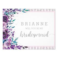 #bridesmaid - #Purple Floral & Silver Will You Be My Bridesmaid Card