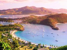 Antigua is lush, green and mountainous edged with 365 beaches, one for each day of the year and with the Caribbean Sea to the west, and the Atlantic Ocean to the east, the variety and beauty is stunning. Palm fringed, fine sand beaches with turquoise blue still water lapping on the west and rocky coves with Atlantic breakers on the east