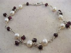 Lovely White freshwater pearls and garnet gemstones sterling silver bracelet Wire wrapped  Dressy Wedding Casual wear silver jewelry - pinned by pin4etsy.com