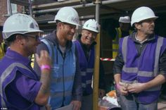 Prince Harry jokingly orders the builders 'back to work' as they film him on their mobile phones and tells them they can watch him if they want to learn about laying paving slabs