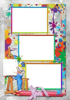 Tipss und Vorlagen: Frame and Coloring Page for kids Boarder Designs, Page Borders Design, School Border, Boarders And Frames, Kids Background, School Frame, Background Powerpoint, Borders For Paper, Flower Frame