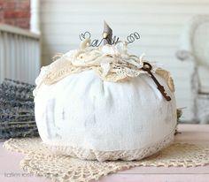 Large Vintage Feedsack Pumpkin